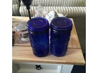 2 x blue glass kitchen storage jars with embossed fruit on them. £10 the pair.