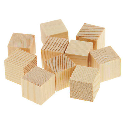 Natural Wooden Cube Blocks Unfinished Wood Shapes for DIY Crafts Kids - Wood Crafts For Kids