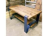 Bespoke large coffee table metal and wood