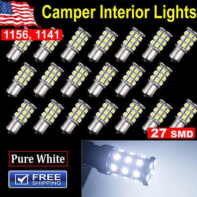 20X Super White 1156 Interior Light Rv Camper Trailer 27 Smd Led 1141 1003 Bulbs