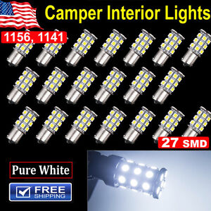 20X Super White 1156 Interior Light RV Camper Trailer 27 SMD LED 1141 1003 Bulbs