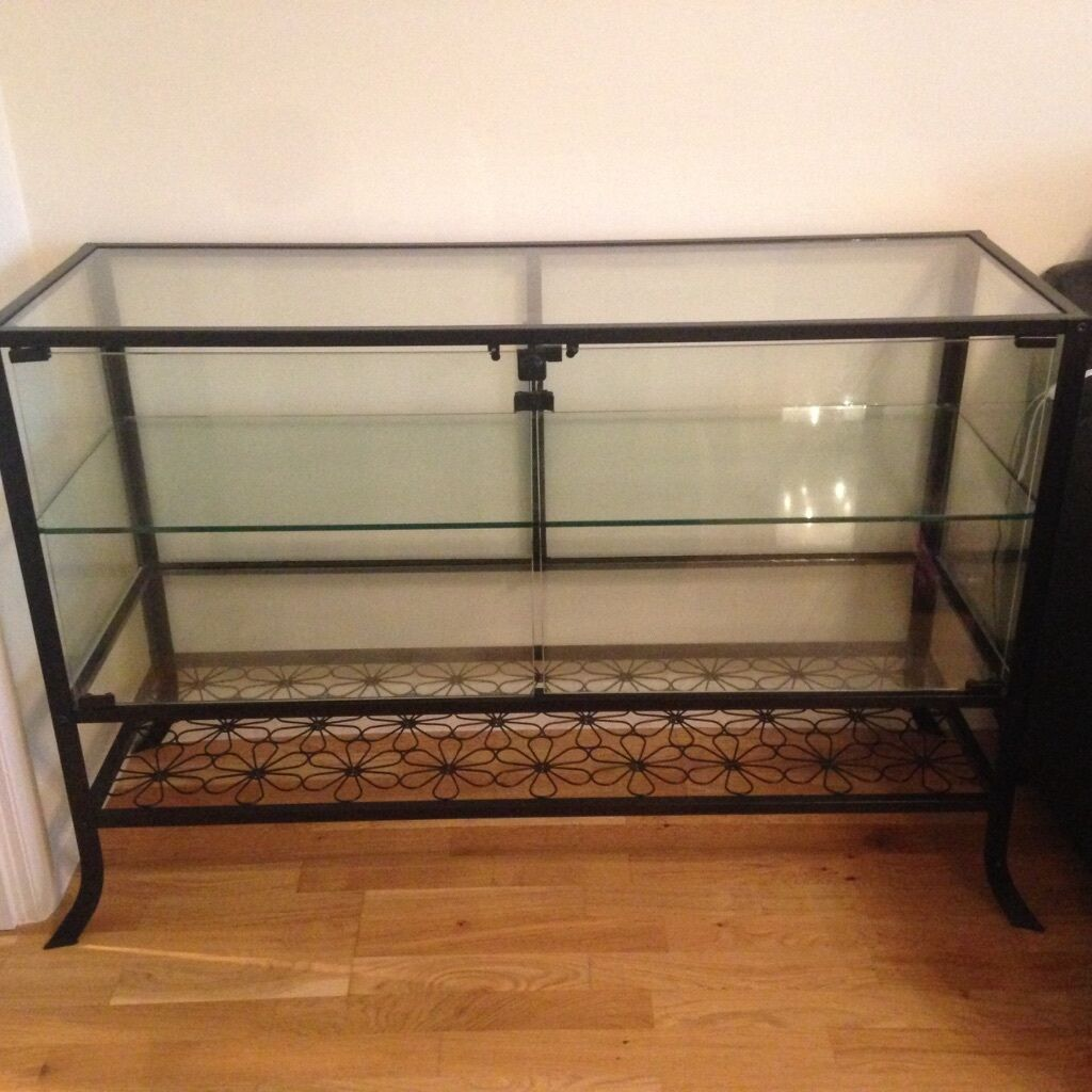IKEA Klingsbo Black Glass Display Cabinet