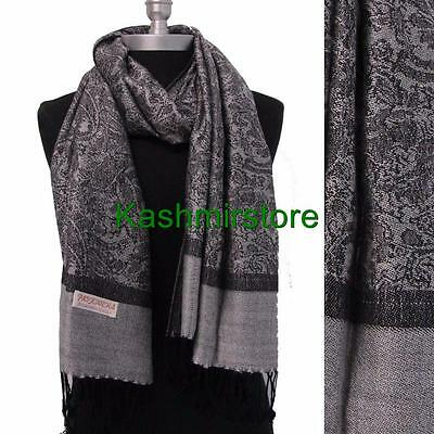 New Pashmina Paisley Floral Silk Wool Scarf Wrap Shawl Soft Classic Gray/black