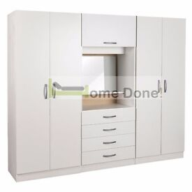 **14-DAY MONEY BACK GUARANTEE!** - Ready Built Fitment Wardrobe with Dressing Table and Mirror