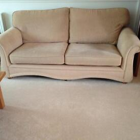 3 matching fabric sofas straw/pale gold colour. All in excellent condition.