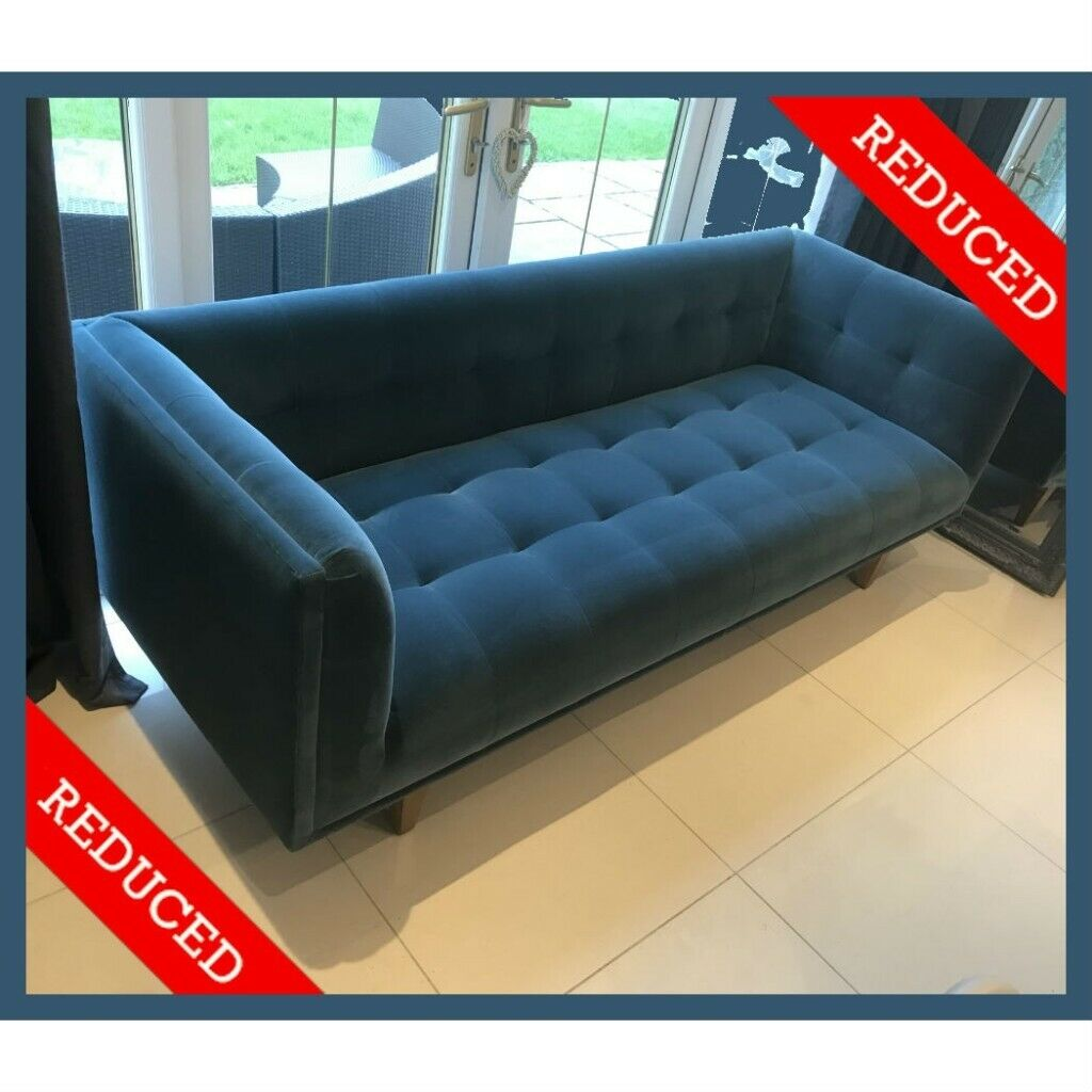 bb01f71fda00 Sofas & Stuff Petrol Blue Velvet Sofa Turquoise green Large 4 Seater Couch  new fabric RRP £1,495