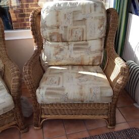 Good quality cane Conservatory set two seater and two single chairs