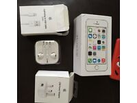 I phone 5s white BOX ONLY Apple ear , USB cable charger