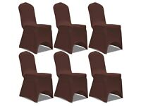 Stretch Chair Cover 6 pcs Brown-131413