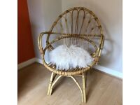 Vintage Wicker Rattan Cane Chair - Boho Chic