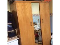 Wardrobe and dressing table with mirror
