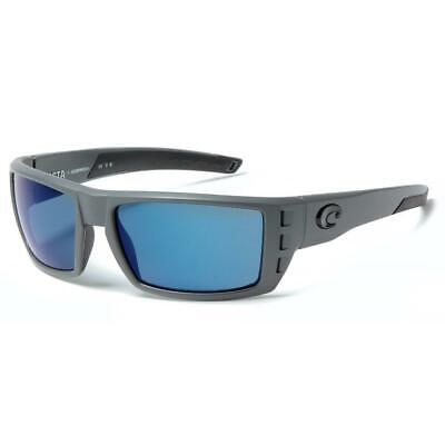 5664112299aa3 Costa Del Mar Rafael Polarized Sunglasses 580P Matte Gray Blue Mirror Wrap