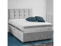 🔥💖🔥TOP SELLING BRAND❤🔥NEW DOUBLE 4FT6 or 5FT KING CRUSH VELVET DIVAN BASE w MATTRESSES AVAILABLE