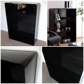 RRP £429.99 Toscana Curved High Gloss Black Glass Shelf Shelves Compartment Bookcase Unit