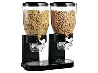 LUVADO BLACK DOUBLE CEREAL DISPENSER DRY FOOD STORAGE CONTAINER MACHINE