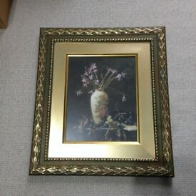Manuscript Tall Framed Flower Vase Picture