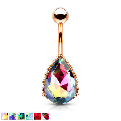 1pc AB Effect Tear Drop Gem Belly Ring w/ Heart Filigree Back Rose Gold Navel