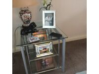 Glass side table very good condition,two shelves