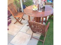 Garden Furniture Set - Hardwood - table and four chairs (with red parasol) - great condition