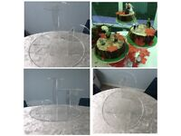 Wedding or Party Cake Stand, 3 mushroom-type tiers at differing heights