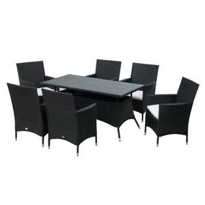 7ps Outdoor Rattan Dining Set Garden Wicker Patio Furniture Backyard Slat Top Table and Chair Set Black / New