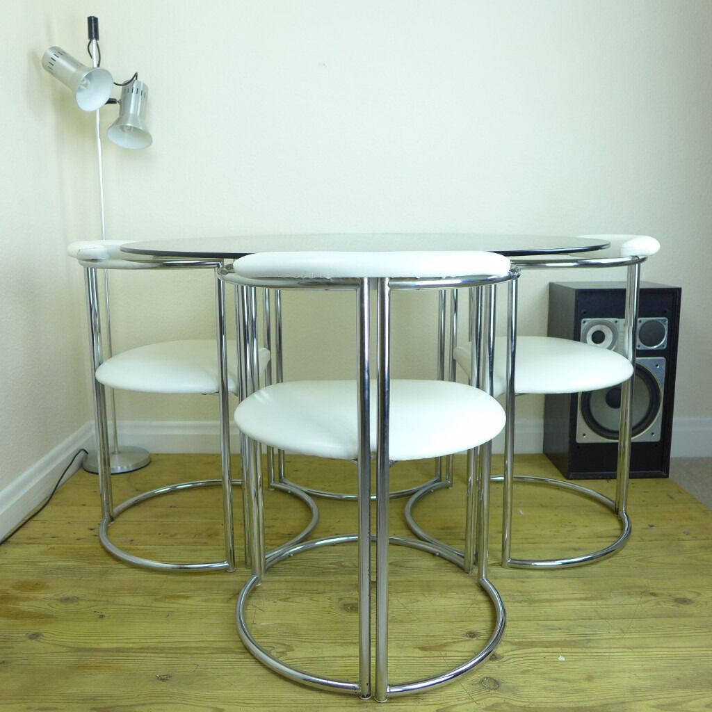 Vintage 70u0027s Chrome U0026 Smoked Glass Dining Table And White Faux Leather  Chairs ~ Delivery Possible Part 47