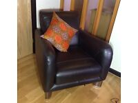 Contemporary feature armchair - Black leather