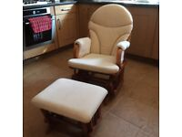 Rocking nursing chair with stool