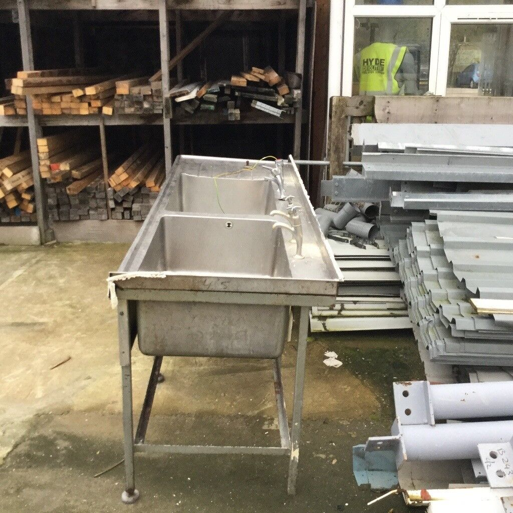 Reclaimed double stainless industrial sink