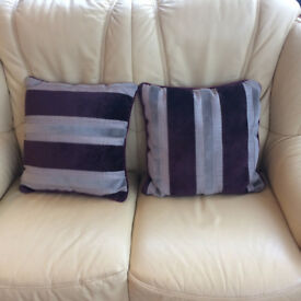 New - a pair of cushions, purple/grey/dark beige