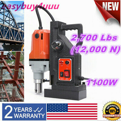 Md40 Magnetic Drill Press 40mm Boring Magnet Force Tapping 1100w 2700lbs Us Plug