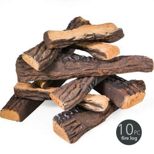 Decorative Realistic Flame 10 PC Petite Ceramic Wood Fireplace Firepit Log Set