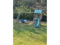 Climbing frame swing/wave slide and fort tower