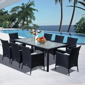Patio Furniture Garden Rattan Dining Set Cushioned Seat Patio Wicker Furniture / patio dining set garden dining area