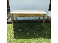 Rustic pine plank top table