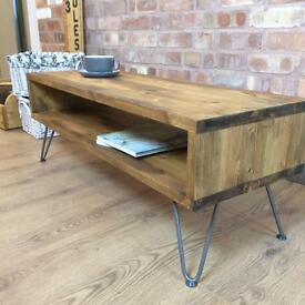 """New Rustic Industrial Style Vintage Retro Coffee Table / TV Cabinet With 8"""" Metal Hairpin Legs"""