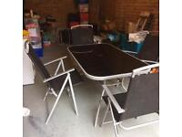 Garden patio glass table and 6 chairs plus 2 sun loungers