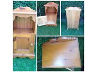 Small pine cabinet bedside with cupboard