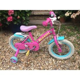 Girls hello kitty bike with stabilisers