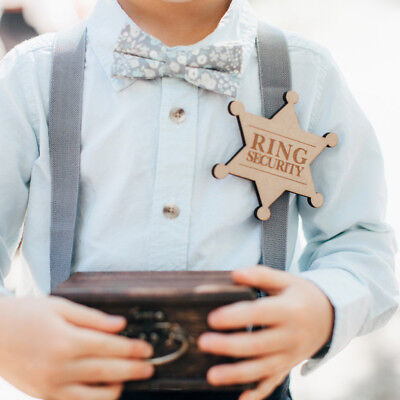 Ring Security Wooden Ring Bearer Badge Wedding Party Pin Engraved Badge](Ring Bearer Badge)
