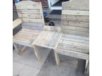 Garden bench. Table bench. Bin sheds. Planters.