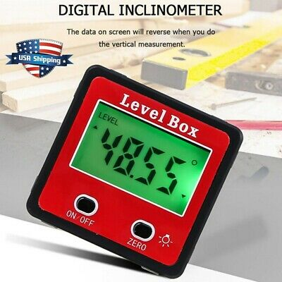 Lcd Digital Inclinometer Level Box Protractor Angle Finder Gauge Meter Bevel Usa