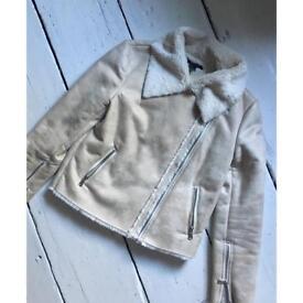 Forever 21 cream biker jacket