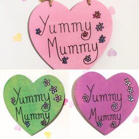 Yummy mummy wooden heart sign