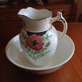 Vintage Bristol washstand jug and bowl in superb condition