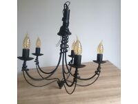 Black iron look pendant light