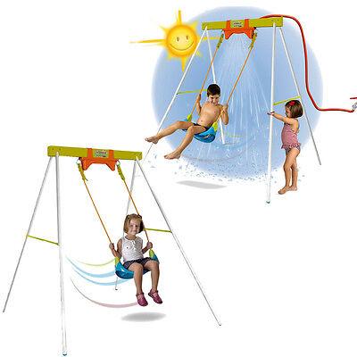 KIDS GARDEN SWING SET WATER SPRAY OUTDOOR CHILDRENS PLAY SAFE FUN METAL PLASTIC