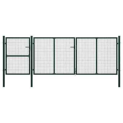 vidaXL Garden Gate Steel 400x125cm Green Fence Doors Garden Fencing Entrance