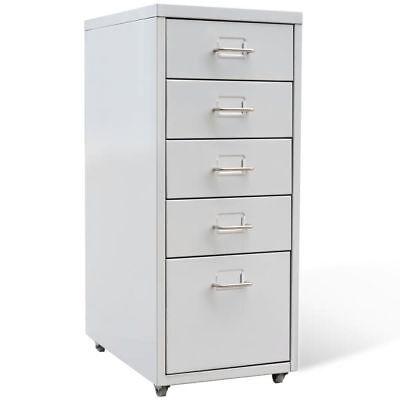Pedestal Drawers Unit Hanging File Cabinet Folder Storage Organizer Gray