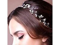 Pearl & Crystal Bendable Wire Vintage Flower Hair Vine Bridal Wedding Accessory